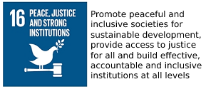 UNO sustainable development goal number 16 with text in English