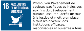 UNO sustainable development goal number 16 with text in French