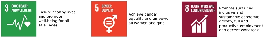 UNO sustainable development goal number 3 5 and 8 with text in English